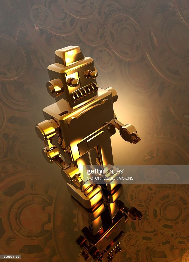 Retro robot, artwork : Stock Photo