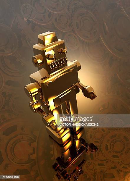 retro robot, artwork - victor habbick stock pictures, royalty-free photos & images