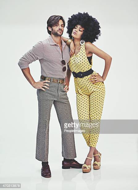 retro romance - african american 70s fashion stock photos and pictures