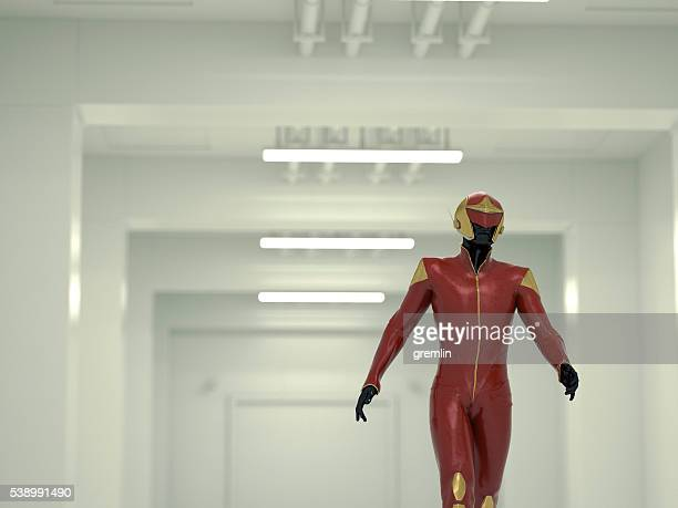 retro-sci-fi kommandant in u-bahn bunker - uniform stock-fotos und bilder