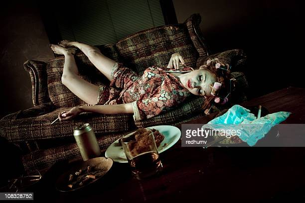 Retro Slob Woman Passed out on Couch