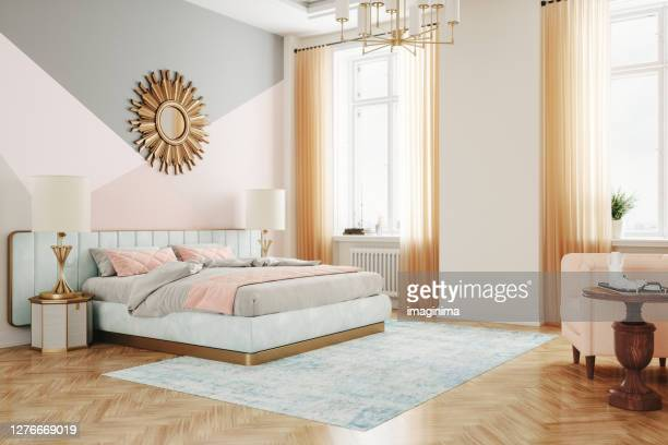 retro style bedroom interior - art deco furniture stock pictures, royalty-free photos & images