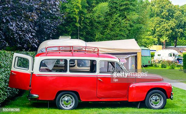 Retro style camping in a park
