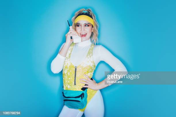 retro style exercise aerobics woman eighties era - fashion oddities stock pictures, royalty-free photos & images
