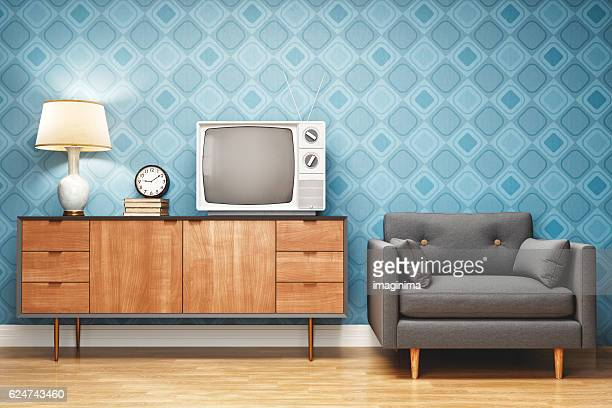 retro style living room interior design - obsolete stock pictures, royalty-free photos & images