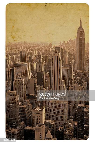 Retro style postcard of the Manhattan skyline