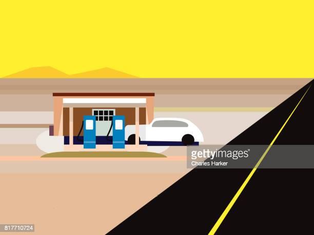 Retro Style Scene Illustration of old gas station in Arizona Desert