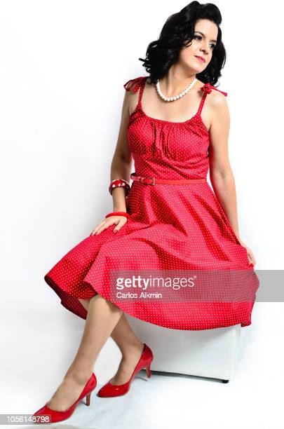 Retro style woman with red dress