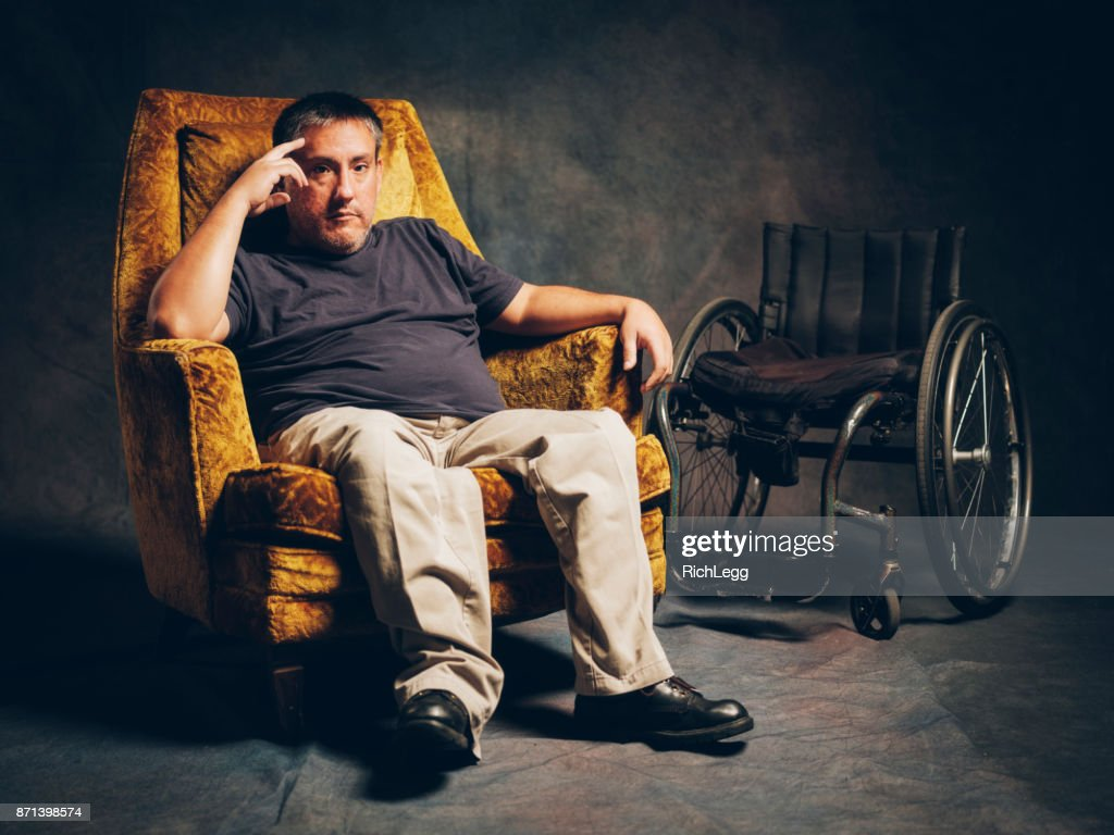 Retro Styled Portrait of a Disabled Man : Stock Photo