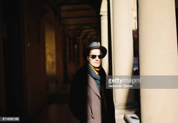 retro styled portrait of a man in hat and sunglasses - high contrast stock pictures, royalty-free photos & images