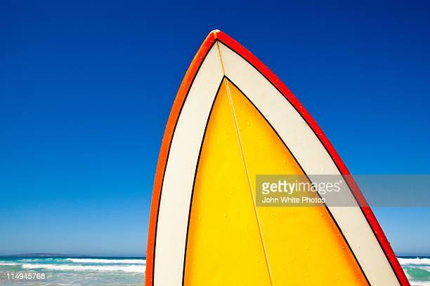 retro surf board at beach, australia - surfboard stock pictures, royalty-free photos & images