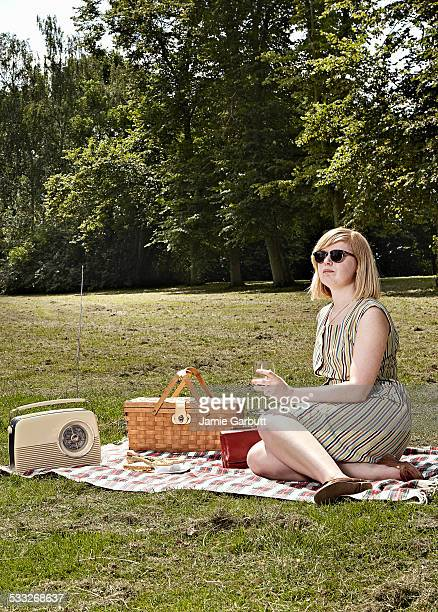 retro syled female enjoying a picnic in the park - picnic stock pictures, royalty-free photos & images