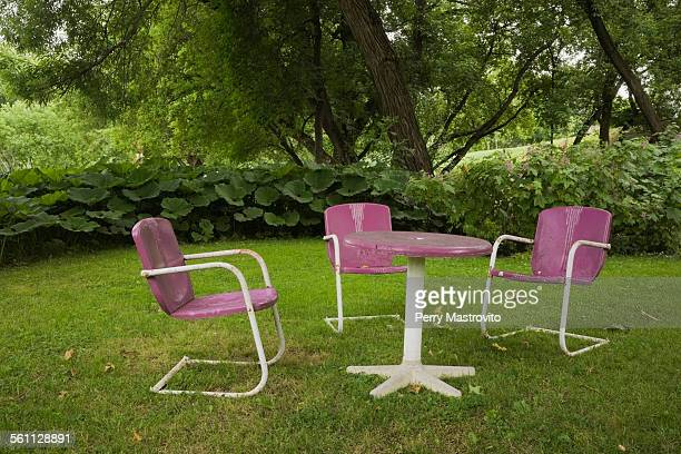 Retro table and chairs in garden