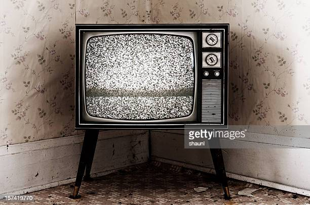 retro television - white noise stock photos and pictures