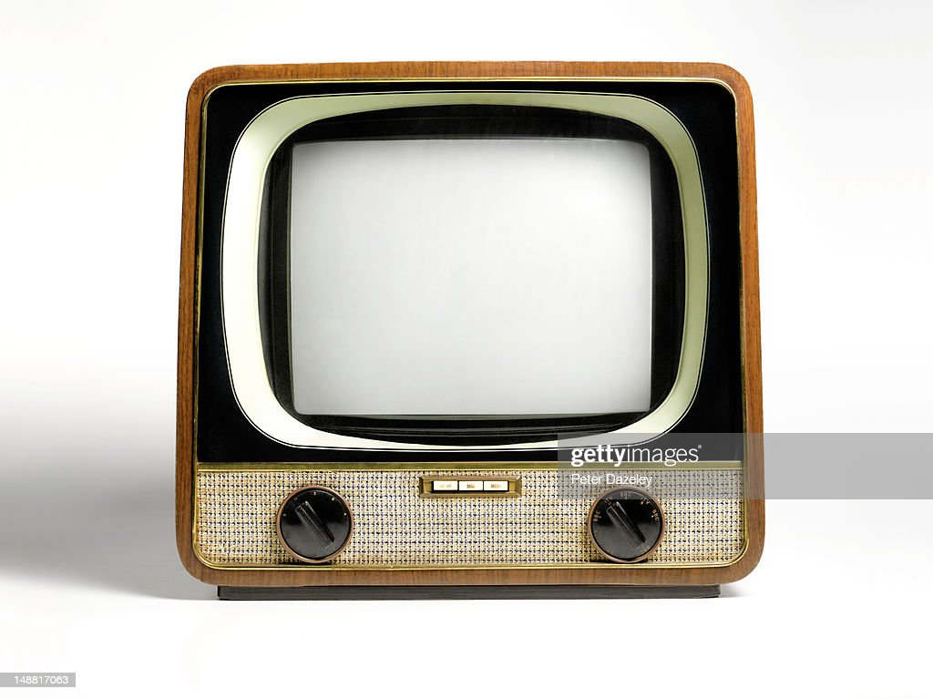 Retro television, with copy space : Stock Photo