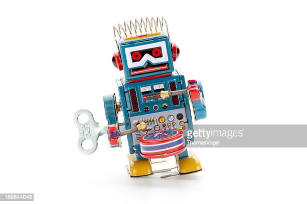 Retro tin toy drummer robot