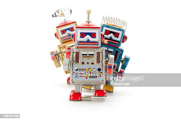 Retro tin toy robot parade