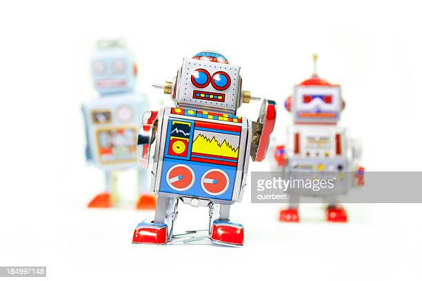 retro tin toy robots - wind up toy stock photos and pictures