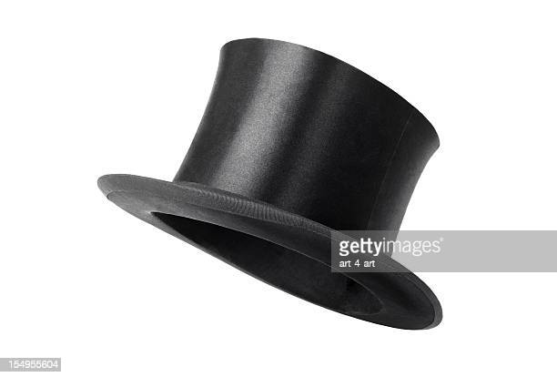retro top hat ready to wear on white background - hat stock pictures, royalty-free photos & images
