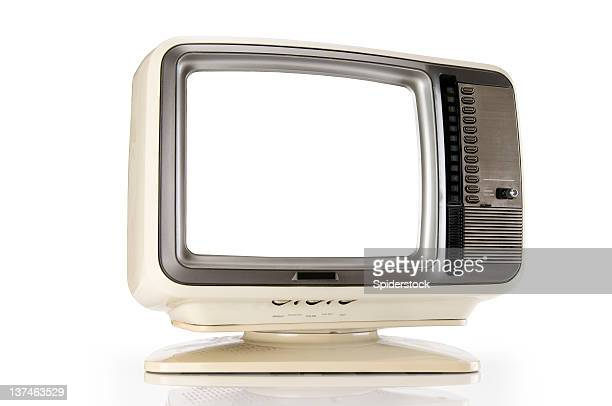 retro tv com traçado de recorte - programa de televisão - fotografias e filmes do acervo
