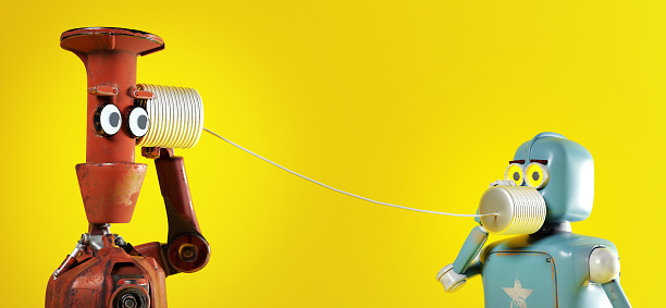 Retro two robots with tin can phones. 3d render 1128057578