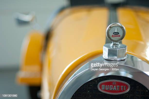 retro vehicle bugatti - hood ornament stock pictures, royalty-free photos & images