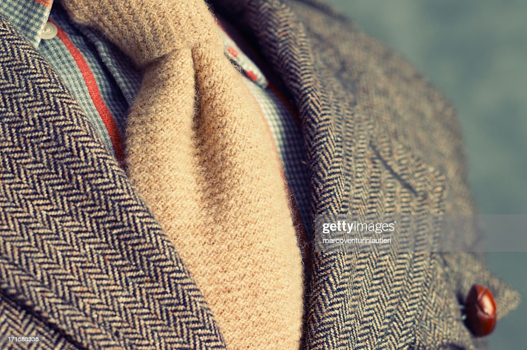 Retro vintage twill jacket with woolen necktie - Close-up : Stock Photo