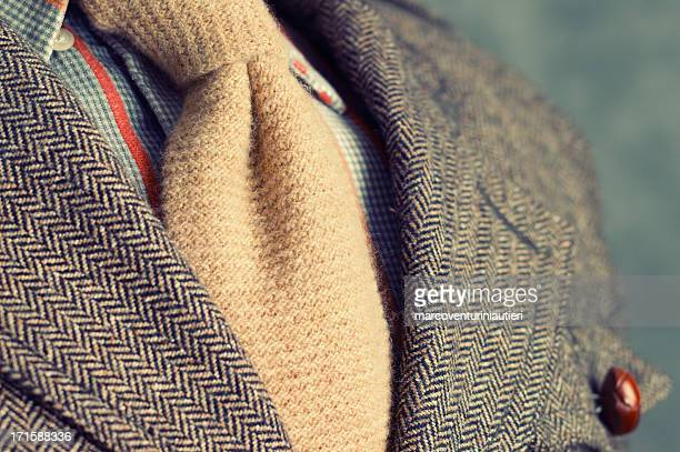 retro vintage twill jacket with woolen necktie - close-up - blazer jacket stock pictures, royalty-free photos & images