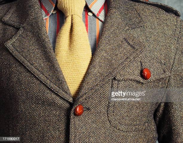 Retro vintage twill jacket with woolen necktie