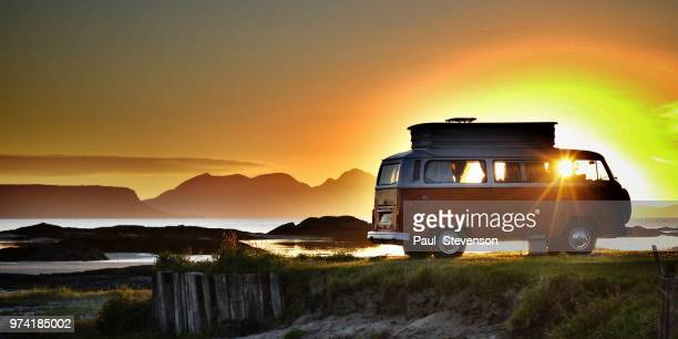 retro vw campervan - people carrier stock pictures, royalty-free photos & images