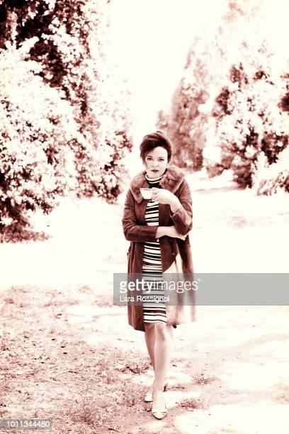 Retro Woman Having Coffee