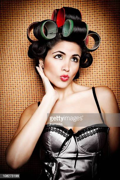 Retro Woman in Curlers