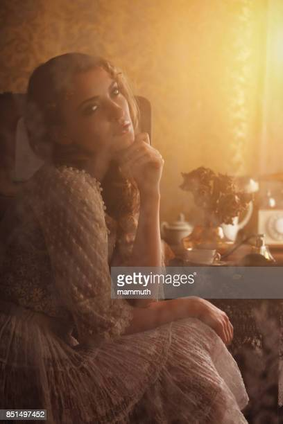 Retro-Frau im boudoir