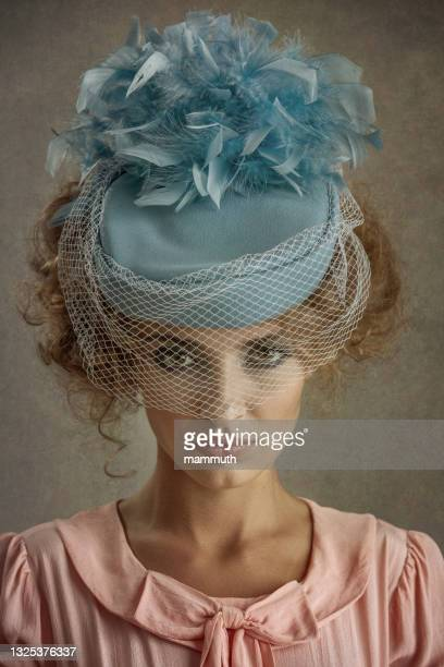 retro woman - fascinator stock pictures, royalty-free photos & images