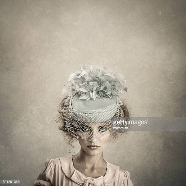 retro woman portrait - headdress stock pictures, royalty-free photos & images