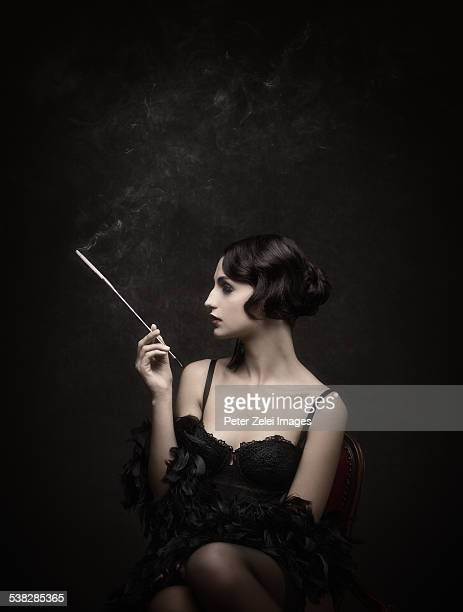 Retro woman smonking cigarette