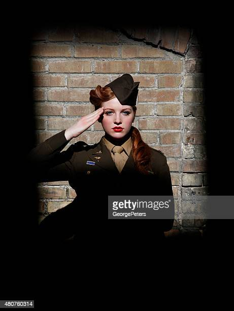 Retro Woman Soldier Saluting