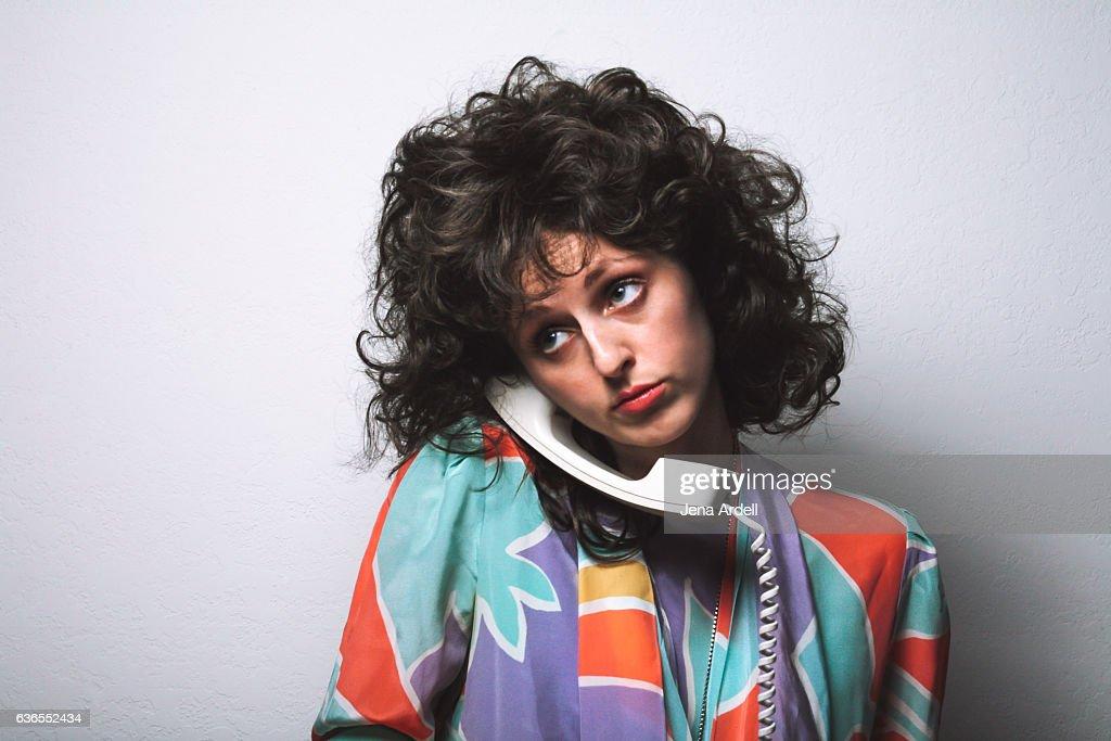 Retro Woman Talking On Landline Phone : ストックフォト