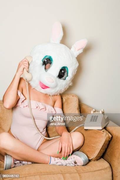 Retro Woman Talking On Telephone Wearing Bunny Mask Bunny Costume 80s Woman