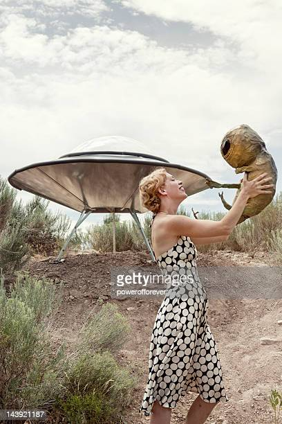 Retro Woman with Alien Baby