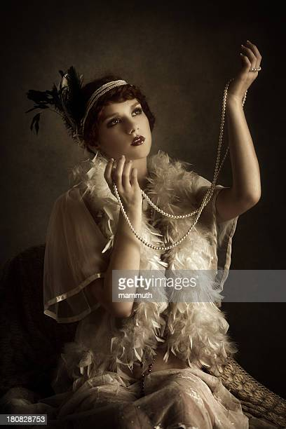 retro  woman with pearl necklace