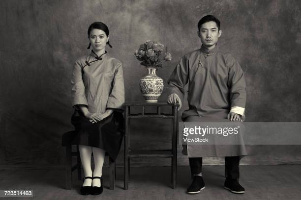 retro young men and women - hand on knee stock pictures, royalty-free photos & images