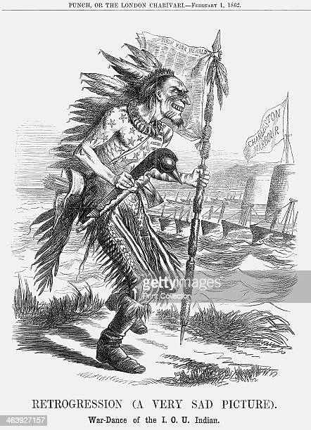 'Retrogression ' 1862 'WarDance of the IOU Indian' The American dancing in 'native' feathers bears a striking resemblance to President Abraham...