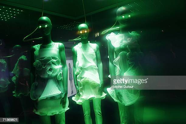 A retrospective of the work of Cristobal Balenciaga is displayed at the Museum of Fashion and Textiles July 4 2006 in Paris France The exhibition...