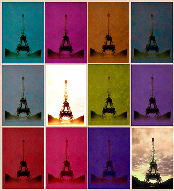Retro-styled Eiffel Tower repeated