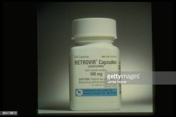 Retrovir brand zidovudine capsules HIV treatment drug formerly known as AZT manufactured by Burroughs Wellcome Co of NC