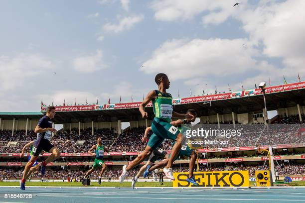 Retshidisitswe Mlenga of South Africa finishes first in the boys 200m during day 5 of the IAAF U18 World Championships at Moi International Sports...
