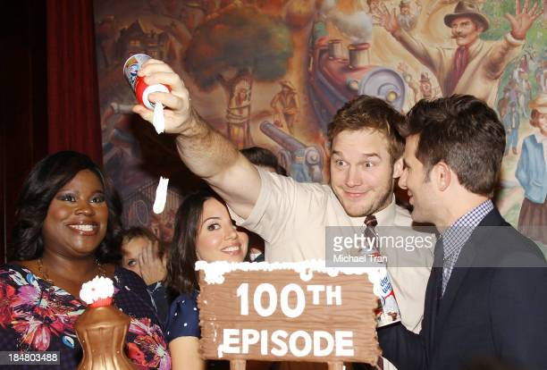 Retta Aubrey Plaza Chris Pratt and Adam Scott attend the Parks And Recreation 100th episode celebration held at CBS Studios Radford on October 16...
