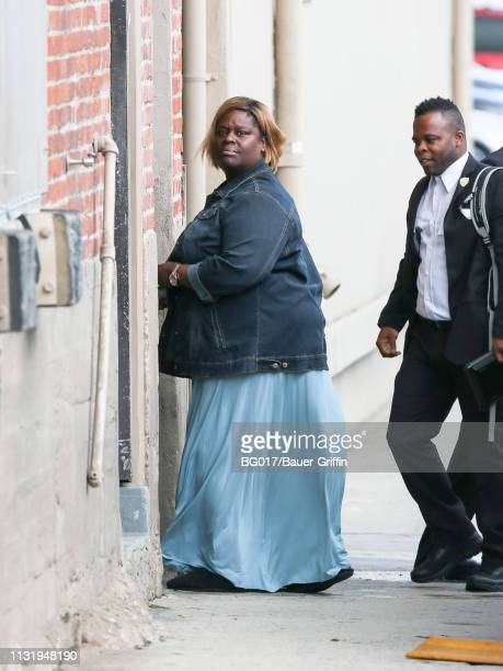 Retta is seen arriving at 'Jimmy Kimmel Live' on March 21 2019 in Los Angeles California