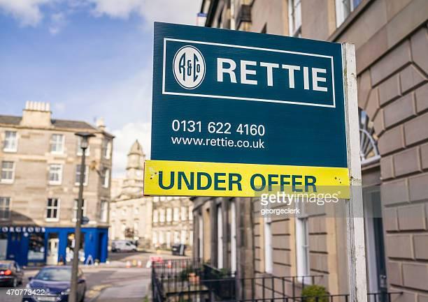 Rettie property sign in Edinburgh, Scotland